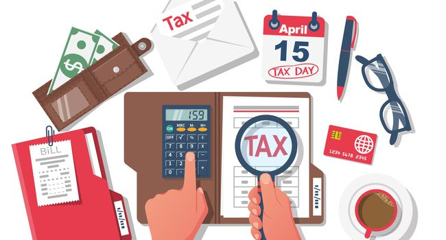 Tax payment. Businessman working at table with documents. Data analysis, paperwork, financial research, report. Calculation tax government, state. Calculation return. Flat design vector illustration.