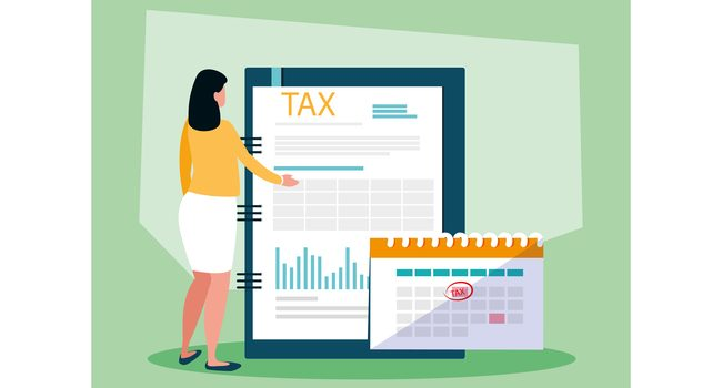 businesswoman in tax day with icons vector illustration design