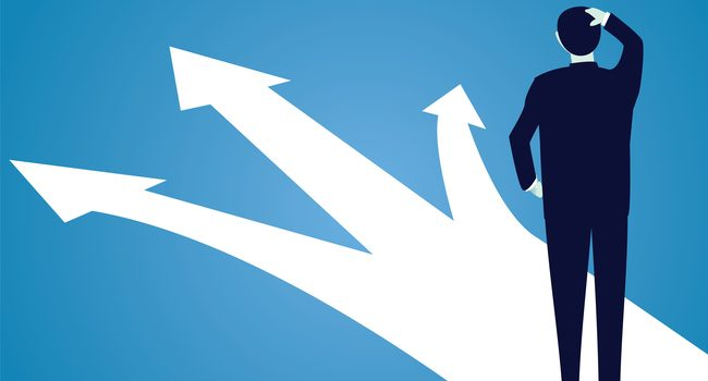Vector illustration. Business decision concept. Businessman confuse to choose the right direction. Future, direction development, goal, success